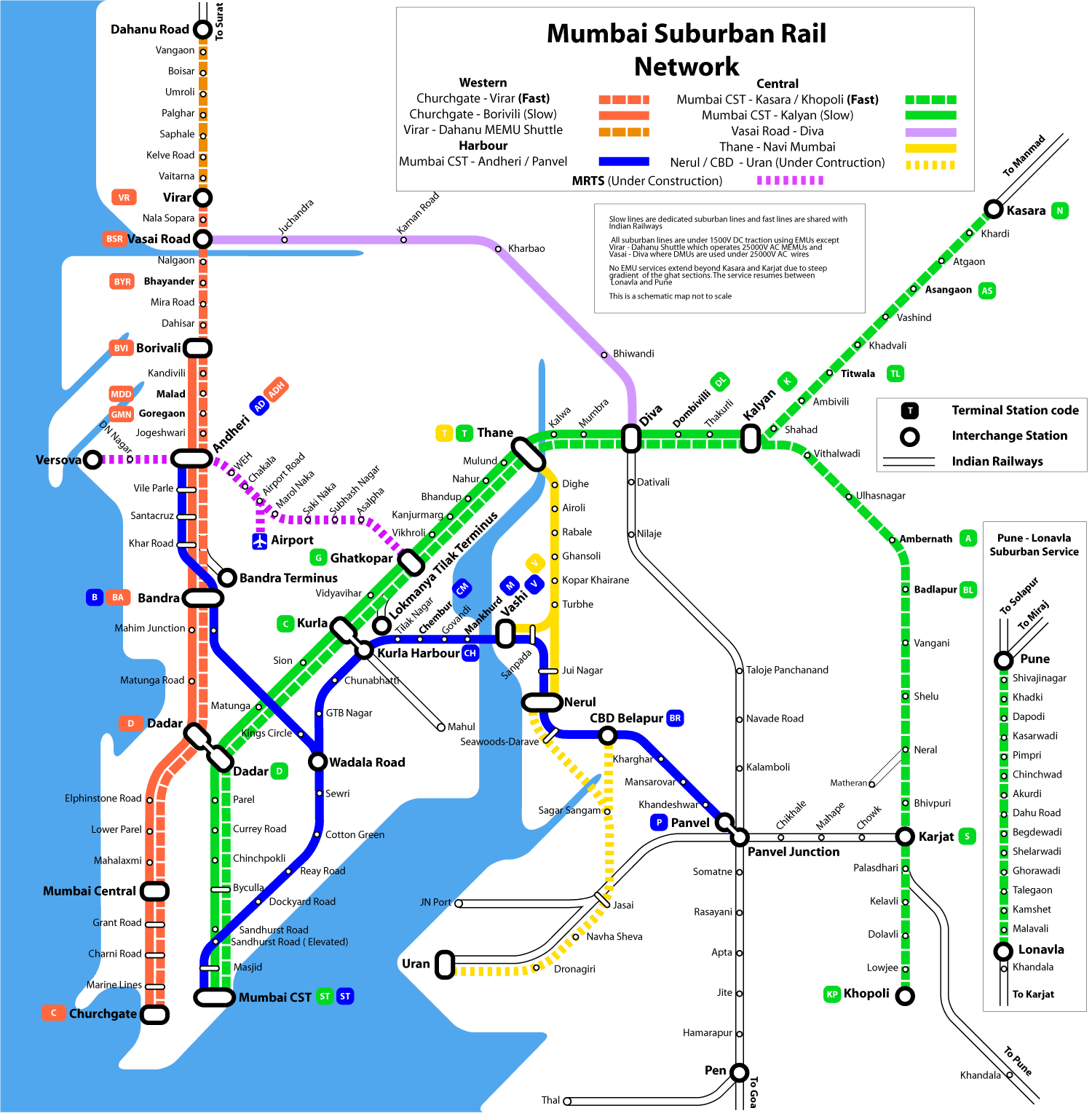 Western Line Railway Map